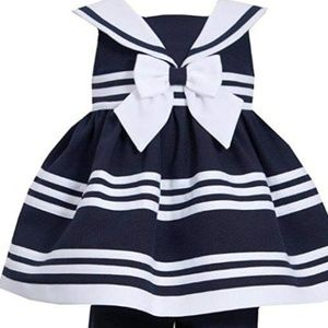 Bonnie Jean Little Girls' Navy Sailor Capri Set
